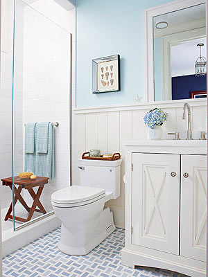 Bathroom Tour: Blue & White Cottage Style