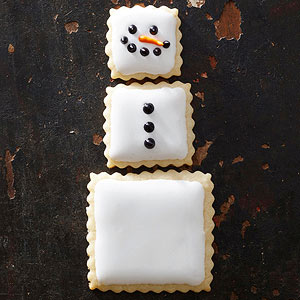 Stacked Square Snowmen Cookies
