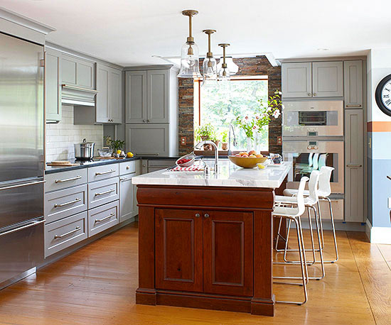 chunky wooden kitchen island - Kitchen Island Small Space