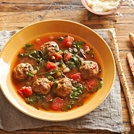 Porcini Meatball Soup With Swiss Chard Ribbons