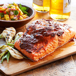 Ancho-Guajillo Salmon with Grilled Pineapple Salsa