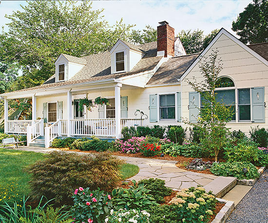 Before and after porch makeovers for Cape cod house with porch