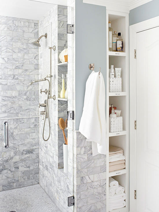 Custom bathroom remodel, open shelving