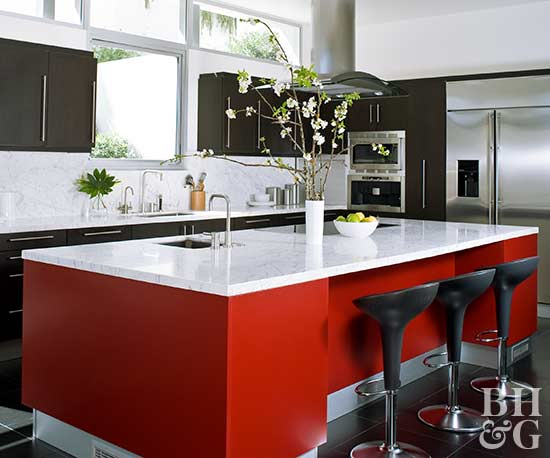 Red Is A Surprisingly Versatile Coloru2014especially When Paired With A Dark  Neutral. There Are Plenty Of Hues To Choose From, Depending On Your Kitchen  Style.