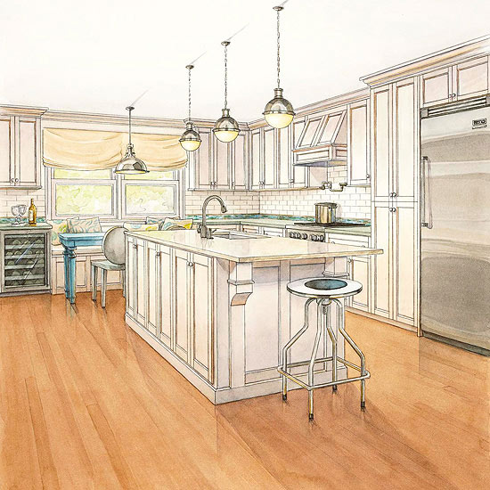 10 Steps Trimming Kitchen Peninsulas With Beadboard: Kitchen Remodeling Costs -- Eat-In Kitchen