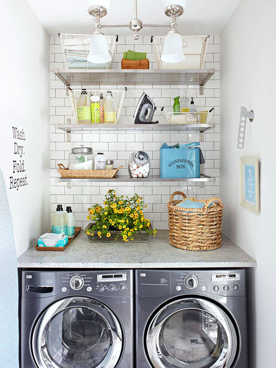 Small-Space Laundry with Pretty Storage
