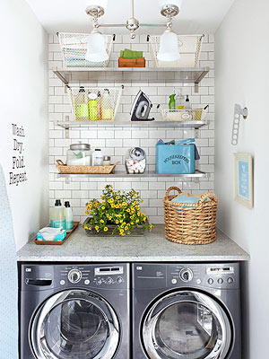 Small Space Laundry With Pretty Storage