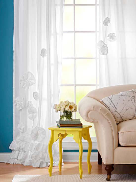 Fabric Flower Window Treatments