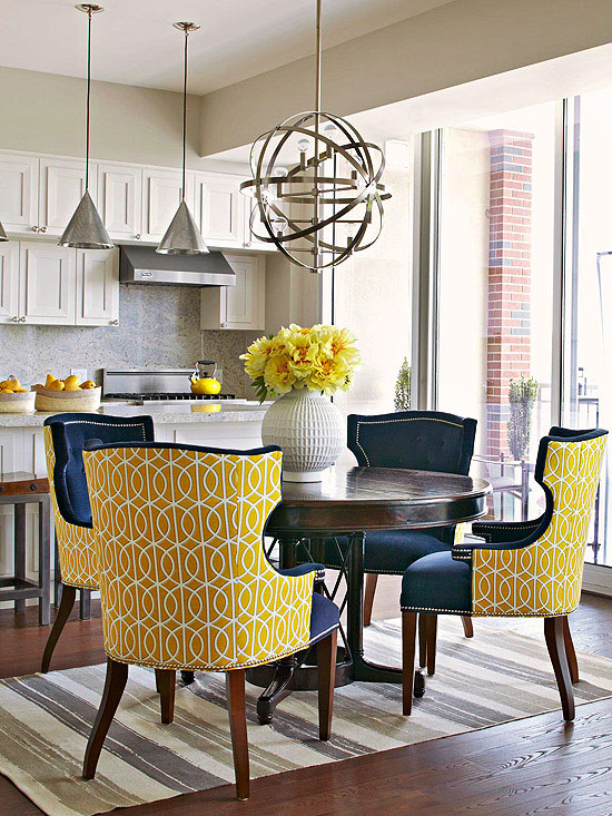yellow and blue dining chairs