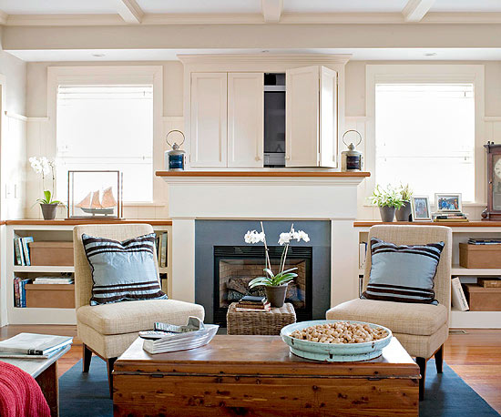 An Elevated Base And Open Shelves Work Well Together Particularly With Fireplaces That Are Centered On A Short Wall Its Look Thats Often Seen In