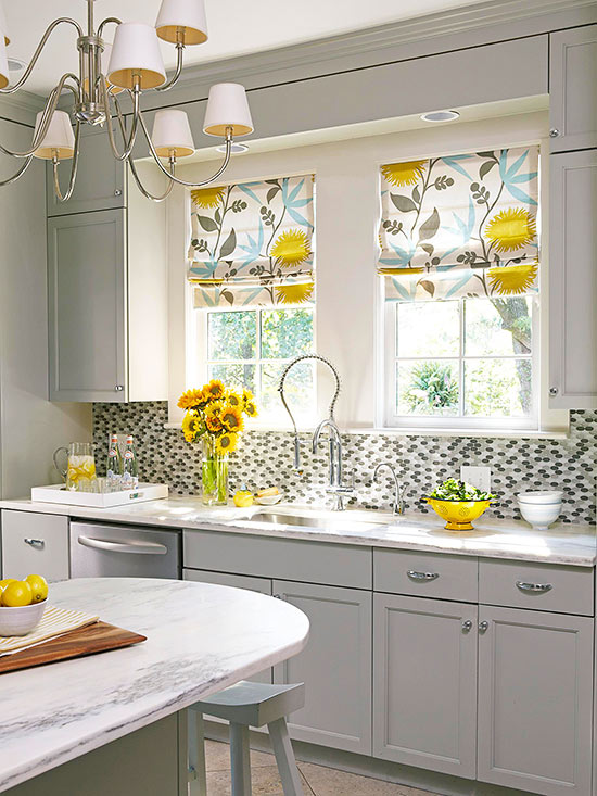 Kitchen window treatments for Cute yellow kitchen ideas