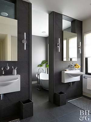 Two Wall Mount Bathroom Sinks Could Require The Least Amount Of Space,  Allowing You To Position The Bowls As Close Togetheru2014or As Far Apartu2014as You  Wish.