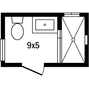 one of the most common bath layouts is a 9x5 foot space with a vanity toilet and tub shower combo lined up next to one another this narrow floor plan is