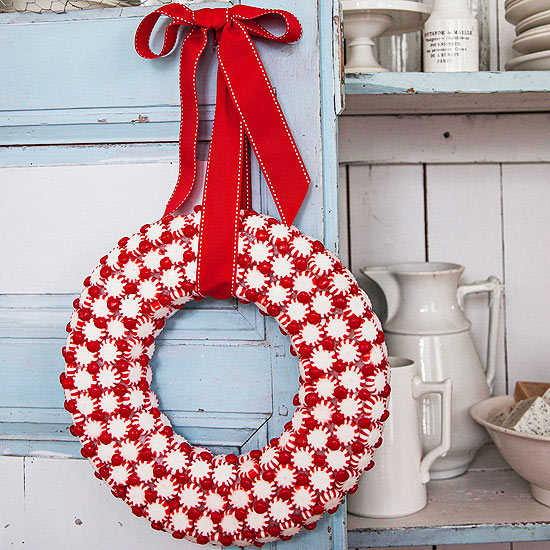 Use Festive Candy for a Pretty Wreath