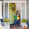 Bright Front Door & Wreath