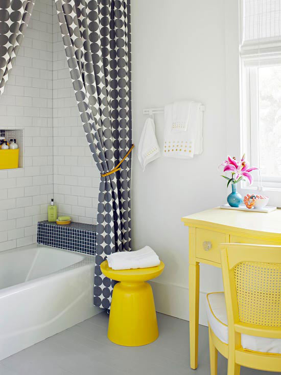 Introduce Pattern with Accessories. Small Bathroom Color Ideas