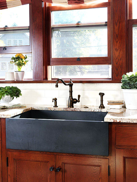 charming Drawbacks Of A Black Kitchen Sink #6: Better Homes and Gardens