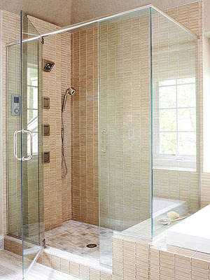 tile showers with glass doors. A glass shower can turn an ordinary bathroom into a spalike retreat  These designs lend light and airy look visually expand small Glass Showers