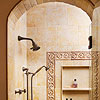 Shower with Limestone Wall