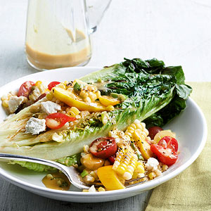 Grilled Romaine Salad with Tomato and Corn Tumble