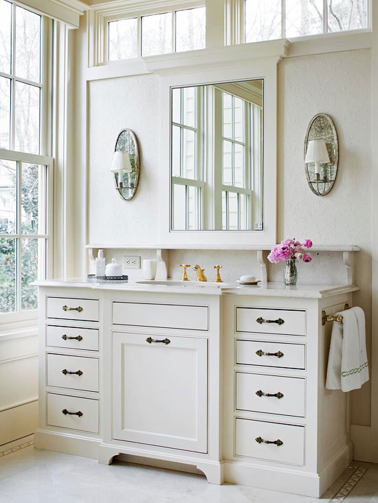 Bathroom with Transom Windows