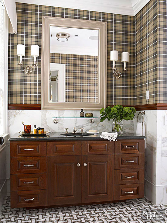 A Preppy Bathroom with Classic Finishes