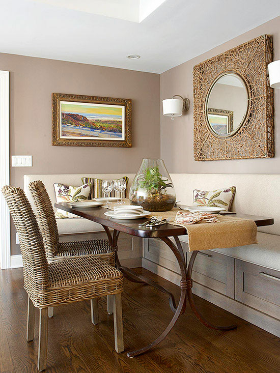 Neutral Dining Nook. Small Space Dining Rooms