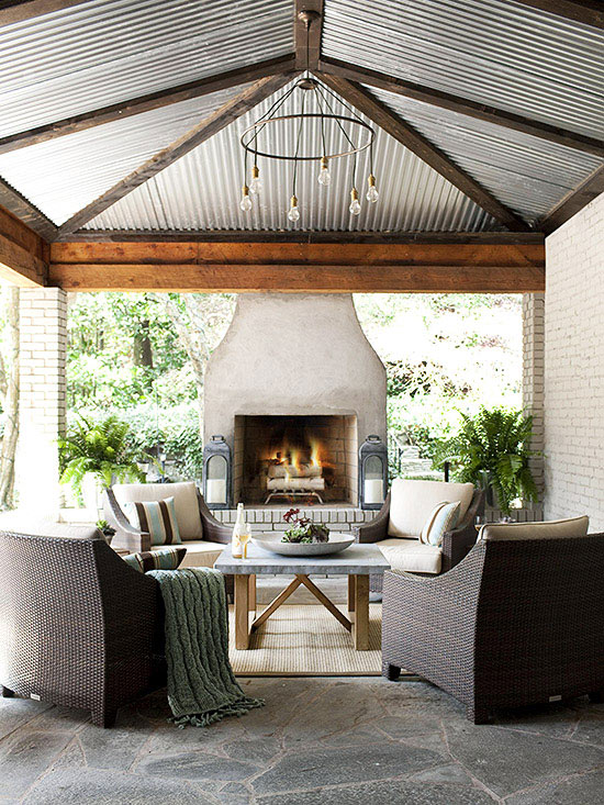 Outdoor fireplace ideas for Outdoor living space plans