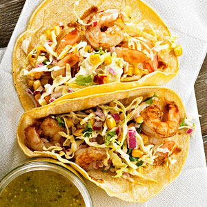 Tamarind Shrimp Tacos with Roasted Corn Slaw