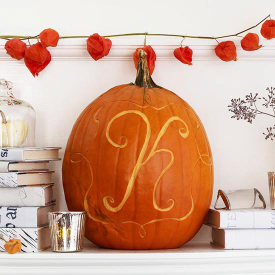 fall monogram carving