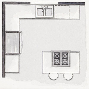 With Workstations On Two Adjacent Walls, This Plan Adds An Island. It Works  Best In A 10x10 Foot Or Larger Room And Makes Space For A Second Cook.