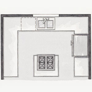 This Floor Plan Is Most Efficient With One Workstation On Each Of The Three Walls In The Shape Of The Letter U The Primary Cook Can Pivot From One Station