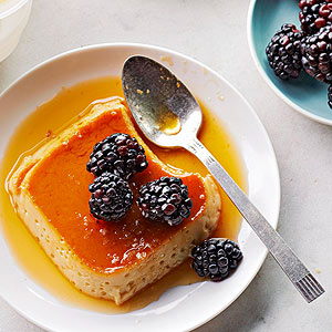 Salted Caramel Flan with Blackberries