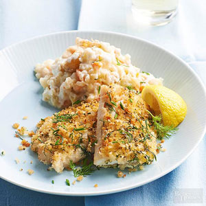 Herb-Crusted Cod with Cauliflower Mash