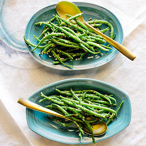 Green Beans with Green Olive Dressing