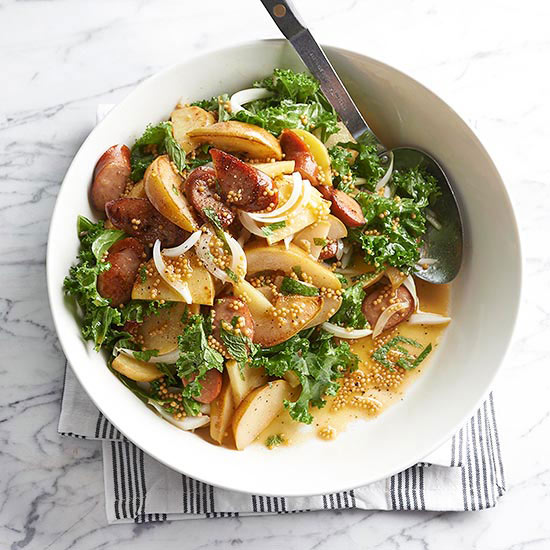 Pear potato salad with pickled mustard seeds and sausage for Better homes and gardens potato salad