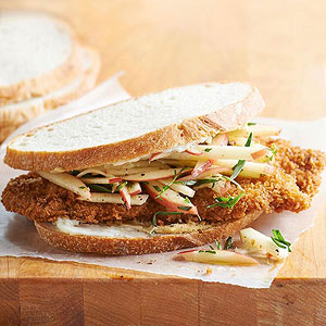 Pork Sandwich with Tarragon Apple Slaw