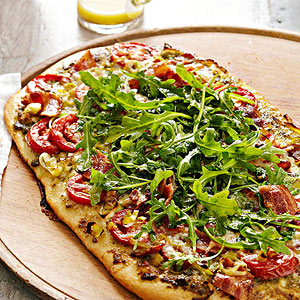 Pesto-Bacon-Tomato Pizza with Arugula Salad Topper