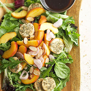 Stone Fruit Salad with Baked Goat Cheese Coins