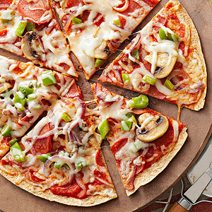 Thin Crust Pepperoni and Vegetable Pizza