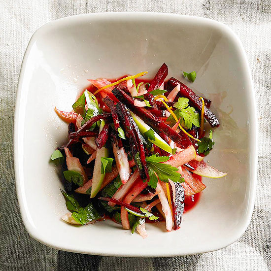 Raw Beet Slaw with Fennel, Tart Apple and Parsley