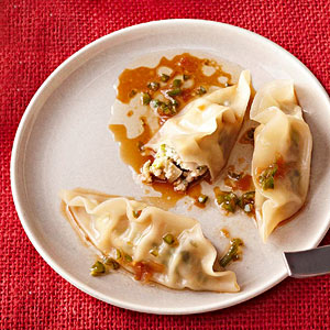 Asian Dumplings with Pickled Ginger Drizzle