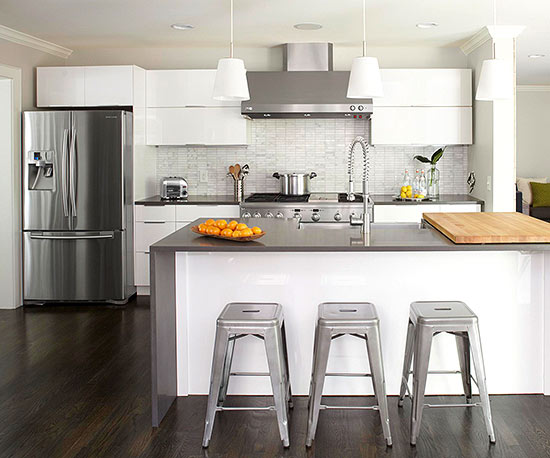 White Kitchens white kitchen with edgy color White Kitchens We Love