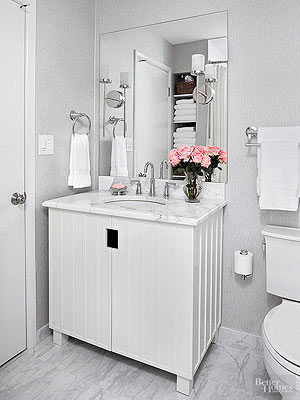 Small Bathroom Design Ideas Color Schemes modern small bathroom design grey and white color schemes and wall mounted sink and toilet White Bathroom Design Ideas