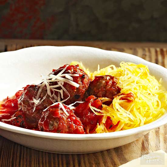Roasted Spaghetti Squash with Meatballs
