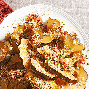 Acorn Squash with Bacon-Chive Crumbs