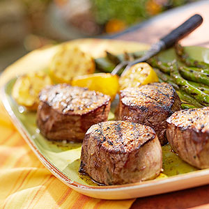 Grilled Steakhouse Filets with Lemon-Grilled Asparagus