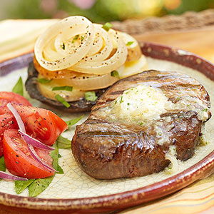 Grilled Filets with Whiskey Butter and Potato-Onion-Mushroom Stacks