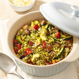 Vegetable-Pesto Risotto Casserole