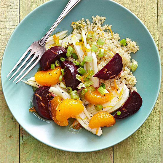 Quinoa Salad with Slow Cooker Beets, Oranges, and Fennel